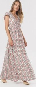 Różowa sukienka born2be trapezowa z krótkim rękawem maxi