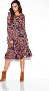 Sukienka Lemoniade w stylu casual z żabotem z długim rękawem