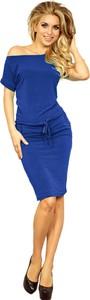 Niebieska sukienka Moda Dla Ciebie sportowa z krótkim rękawem