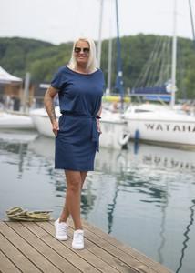 Niebieska sukienka Dreskot z bawełny mini z długim rękawem