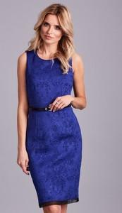 Niebieska sukienka Sheandher.pl mini bez rękawów ołówkowa