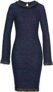 Niebieska sukienka bonprix bpc selection z długim rękawem