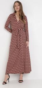 Sukienka born2be w stylu casual maxi z dekoltem w kształcie litery v