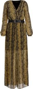 Zielona sukienka Guess z długim rękawem maxi z dekoltem w kształcie litery v