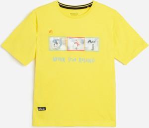 Żółta bluzka dziecięca Reserved z bawełny