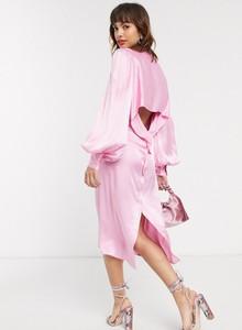 Różowa sukienka Vestire z długim rękawem
