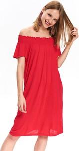 Różowa sukienka Top Secret w stylu casual oversize z krótkim rękawem