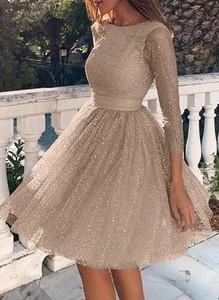 Brązowa sukienka Cikelly z okrągłym dekoltem