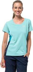 Niebieski t-shirt Autoryzowany Sklep Jack Wolfskin z krótkim rękawem z okrągłym dekoltem z dzianiny