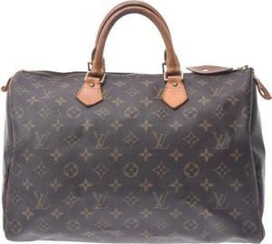 Brązowa torebka Louis Vuitton do ręki z nadrukiem ze skóry