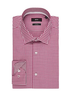 Różowa koszula Boss z długim rękawem w stylu casual z klasycznym kołnierzykiem