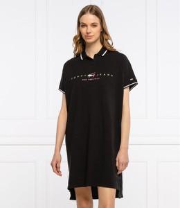 Czarna sukienka Tommy Jeans mini z krótkim rękawem