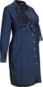 Granatowa sukienka bonprix z długim rękawem z kołnierzykiem mini
