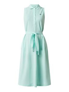 Turkusowa sukienka Lacoste z bawełny bez rękawów rozkloszowana
