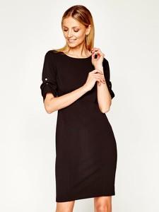 Czarna sukienka DKNY z krótkim rękawem z okrągłym dekoltem mini