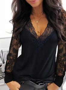 Czarna bluzka Sandbella z dekoltem w kształcie litery v z długim rękawem
