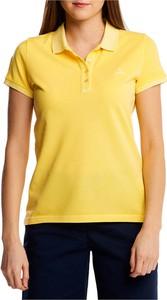 Żółta bluzka Gant z krótkim rękawem z bawełny z dekoltem w kształcie litery v