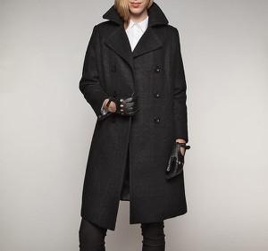Czarny płaszcz Wittchen z wełny