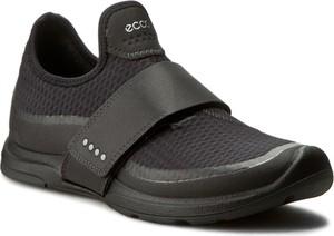 Czarne buty sportowe Ecco z płaską podeszwą w sportowym stylu ze skóry ekologicznej