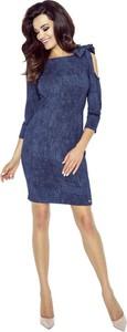 Niebieska sukienka Bergamo z długim rękawem ołówkowa