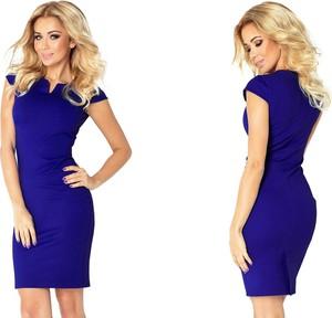 Niebieska sukienka NUMOCO z krótkim rękawem z dekoltem w kształcie litery v dla puszystych