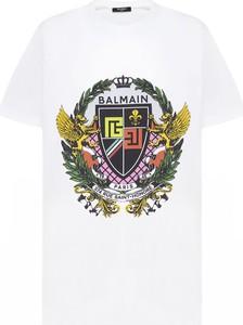 T-shirt Balmain z nadrukiem z krótkim rękawem w młodzieżowym stylu