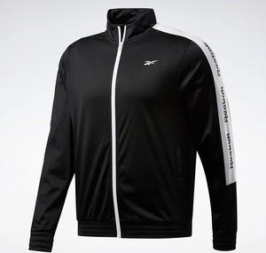 Czarna kurtka Reebok Fitness w sportowym stylu krótka z dresówki
