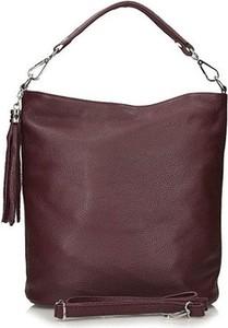 Brązowa torebka Toscanio matowa w stylu casual na ramię