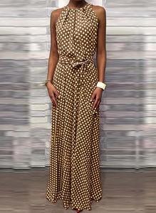 Brązowa sukienka Cikelly prosta maxi z dekoltem halter
