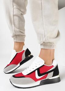 Czerwone buty sportowe born2be z zamszu z płaską podeszwą sznurowane