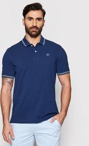 Niebieski t-shirt Bugatti z krótkim rękawem w stylu casual