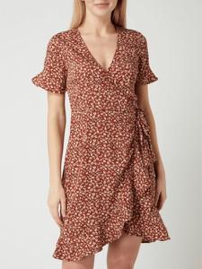 Brązowa sukienka Only mini z dekoltem w kształcie litery v