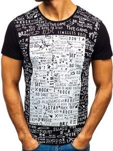 Czarny t-shirt Denley w street stylu z krótkim rękawem