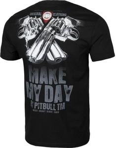 Czarny t-shirt Pit Bull z krótkim rękawem w młodzieżowym stylu z bawełny