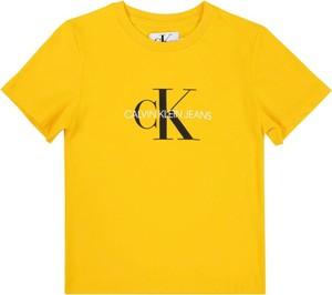 Żółta koszulka dziecięca Calvin Klein z jeansu z krótkim rękawem