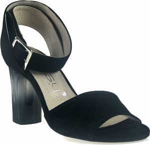 e86ae658 Czarne sandały Oleksy z zamszu na obcasie