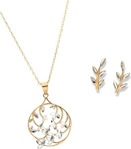 Irbis.style złoty komplet biżuterii - kolczyki i zawieszka