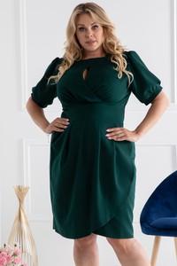 Sukienka KARKO z tkaniny z krótkim rękawem ołówkowa