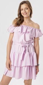 Fioletowa sukienka born2be z krótkim rękawem mini hiszpanka