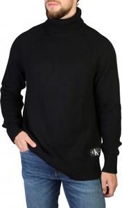 Czarny sweter Calvin Klein w stylu casual z golfem