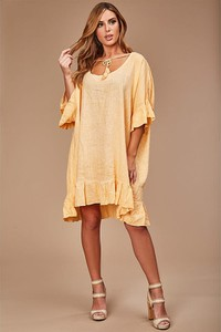 Sukienka 100% Lin mini z lnu z dekoltem w kształcie litery v