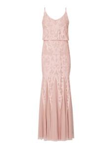 Różowa sukienka Paradi rozkloszowana na ramiączkach maxi