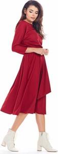 Sukienka Awama z tkaniny z długim rękawem midi