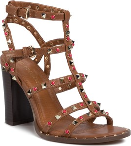 Brązowe sandały DeeZee na wysokim obcasie na obcasie ze skóry ekologicznej