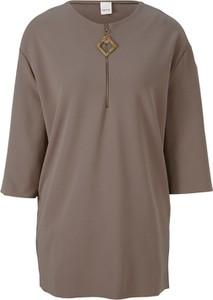 Brązowa bluzka Heine z krótkim rękawem z okrągłym dekoltem