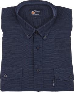 Granatowa koszula Mr.unique z bawełny z długim rękawem