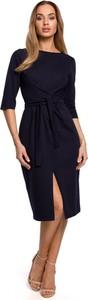 Czarna sukienka Merg z okrągłym dekoltem z długim rękawem