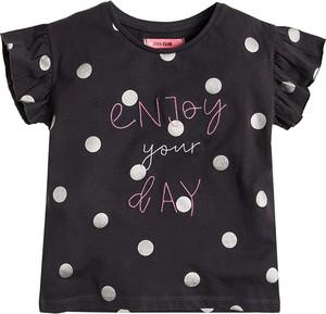 Czarna koszulka dziecięca Cool Club z bawełny z krótkim rękawem