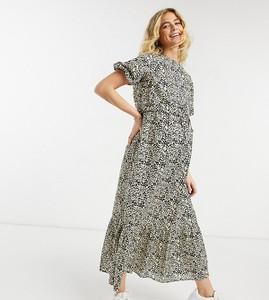 ASOS DESIGN Maternity – Dwuwarstwowa sukienka midi dla kobiet karmiących, z falbaną, z materiału w naturalnym kolorze z wzorem w panterkę-Wielokolorowy