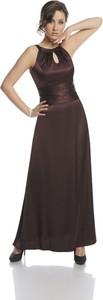 Brązowa sukienka Fokus w stylu glamour maxi z dekoltem halter